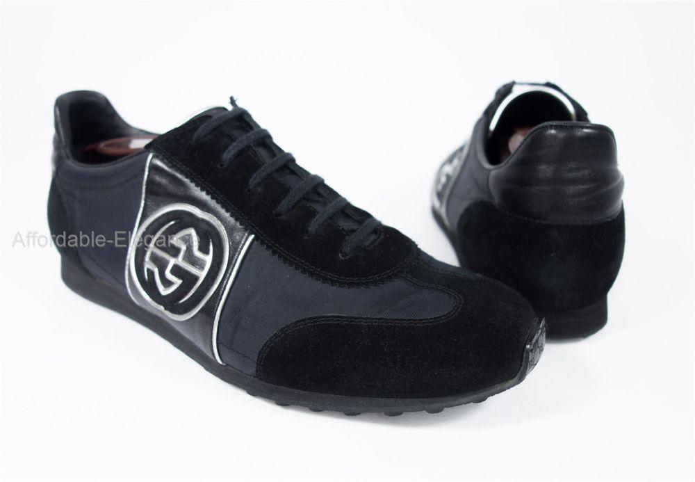 GUCCI Black Logo GG Sneakers UK 8.5 G