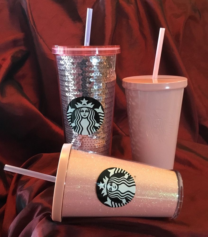NEW Starbucks Holiday 2017 PINK Cold Cups SEQUIN