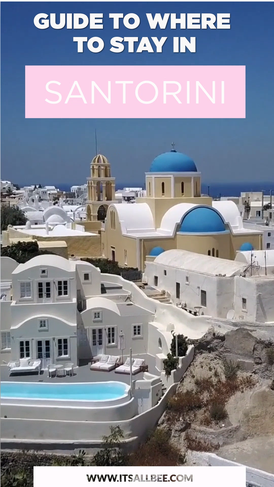 A guide to the best places to stay in Santorini. From Infinity pool hotels to private pool villas on the Greek Island. Everything you need to know about the best town to stay in Santorini to things to do when you visit. #Santorini #traveltips #Greece #daytrips #Oia #Fira #perissa #beaches #room #villas --------------- where to stay in santorini hotels | where to stay in santorini on a budget | where to stay in santorini honeymoons | best place to stay in santorini | santorini hotel luxury