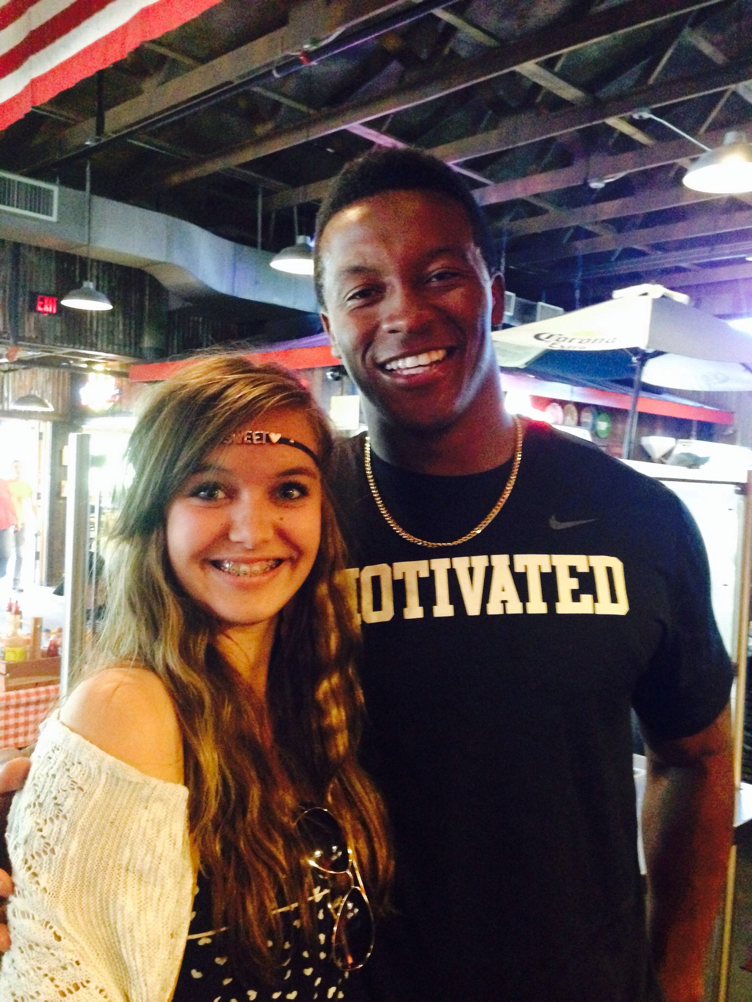 Today out at lunch I got to meet and talk to demaryius Thomas! He is a bronco football player! He was so cool! Today was a good day