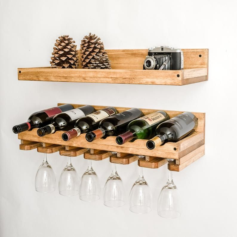 Rustic Wood Wine Rack Wall Mounted Shelf With Hanging Etsy In 2020 Wine Rack Wall Wood Wine Racks Wall Mounted Shelves