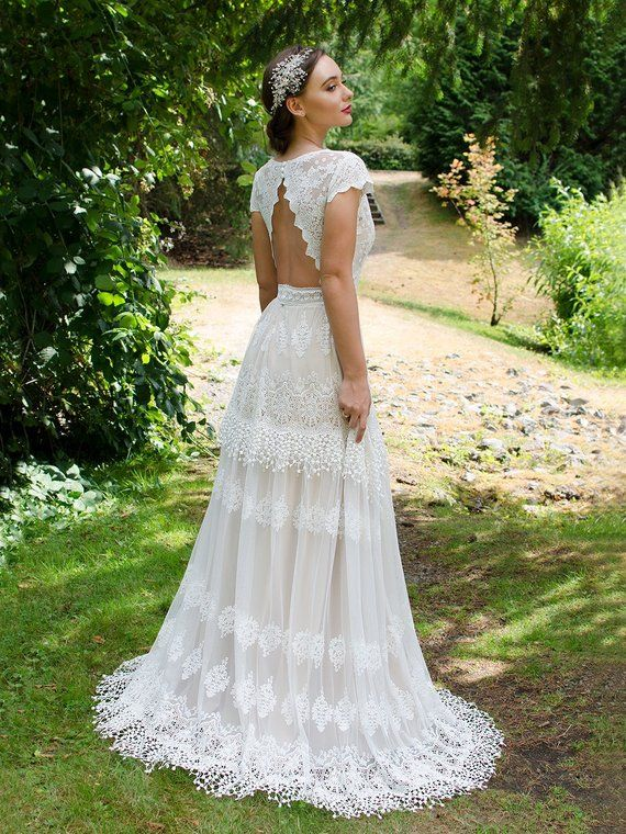 Boho Wedding Dress Lace Wedding Dress Cap Sleeve Bohemian Etsy Boho Wedding Dress Lace Bohemian Wedding Dress Lace Wedding Dresses Lace