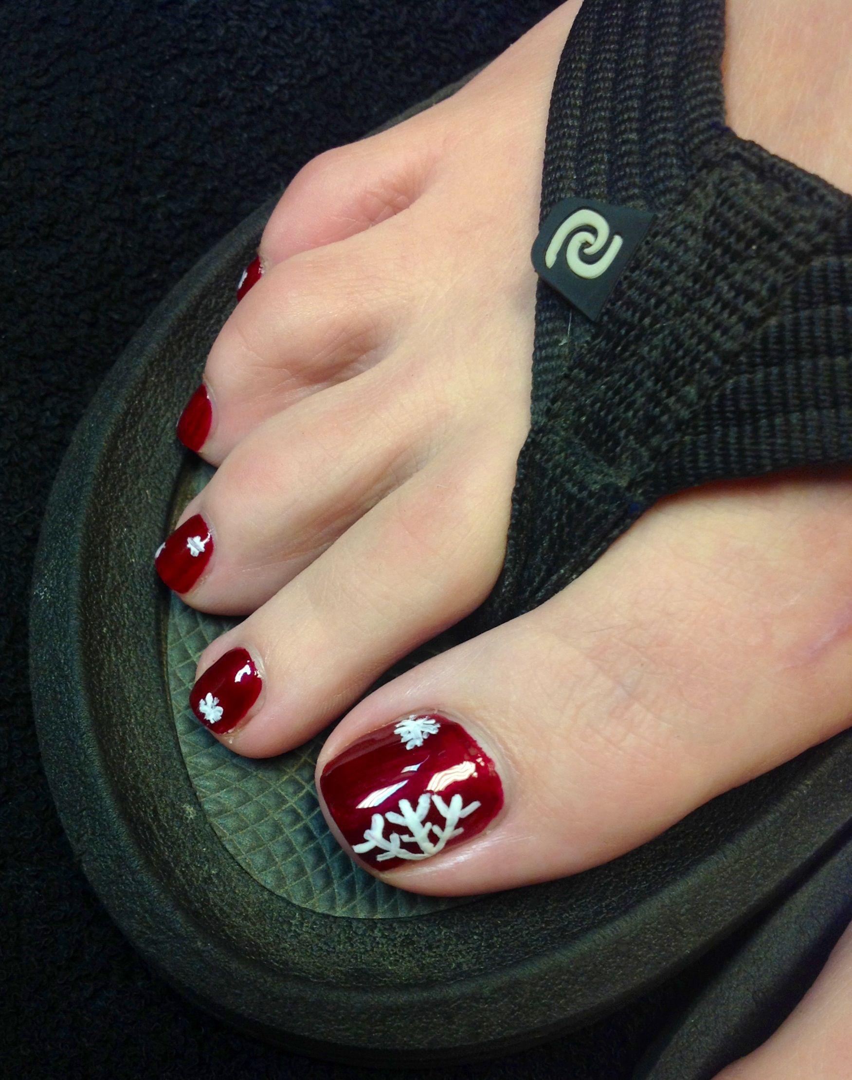 Snowflake Toe Nails Painted Toe Nails Toe Nails Pedicure Designs