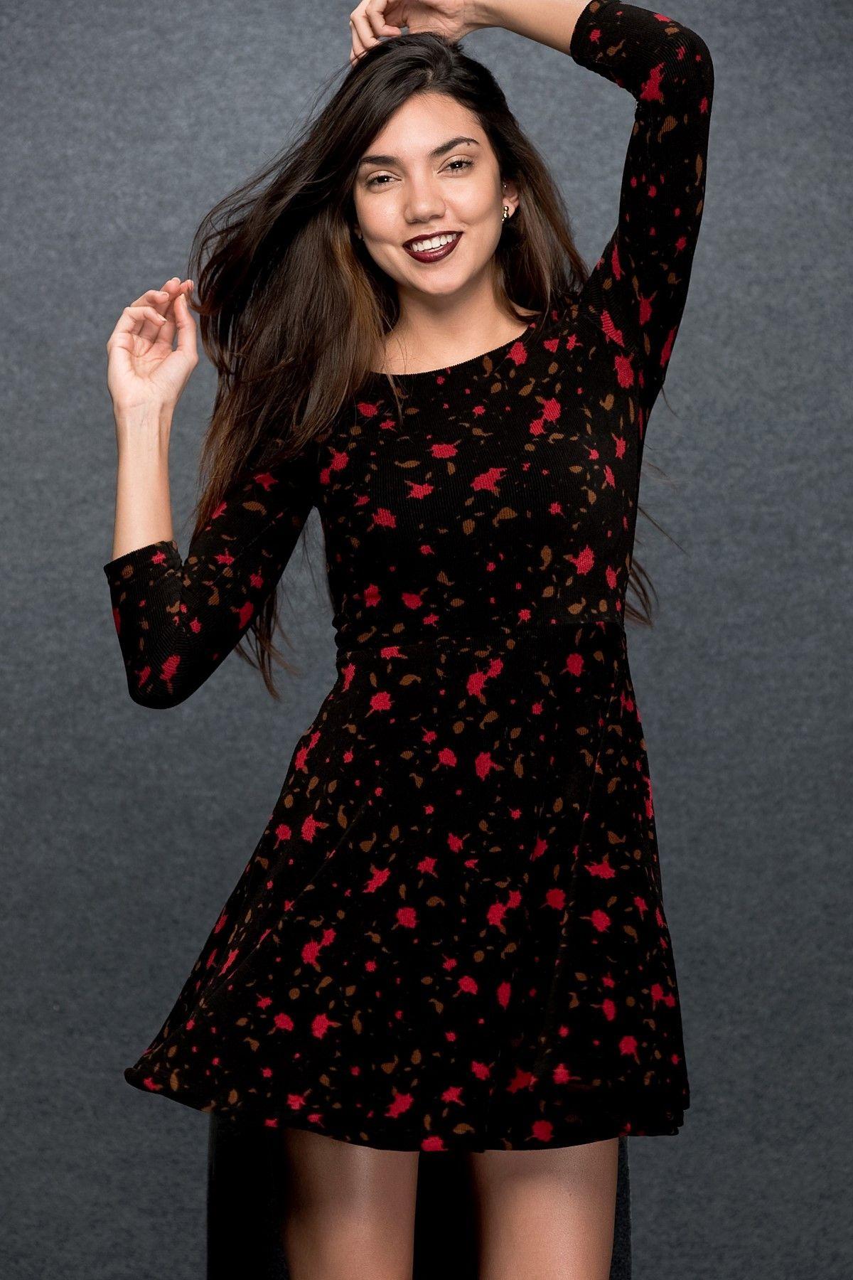 Siyah Cicekli Kadife Elbise N002 Elbise Elbise Modelleri Moda Stilleri