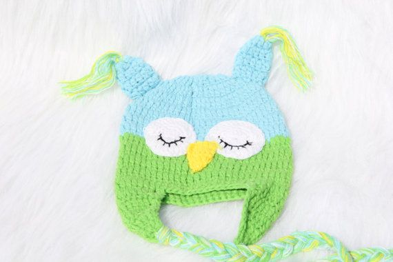 READY TO SHIP Blue and lime green Owl Baby by ShirleyTemplesTutus, $16.50