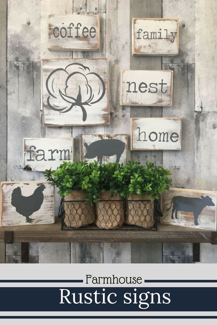 Rustic Farmhouse Style Mini Wood Signs I Really Love The Cotton Boll Farmhousedeco Rustic Wood Signs Vintage Vintage Farmhouse Style Farmhouse Kitchen Signs