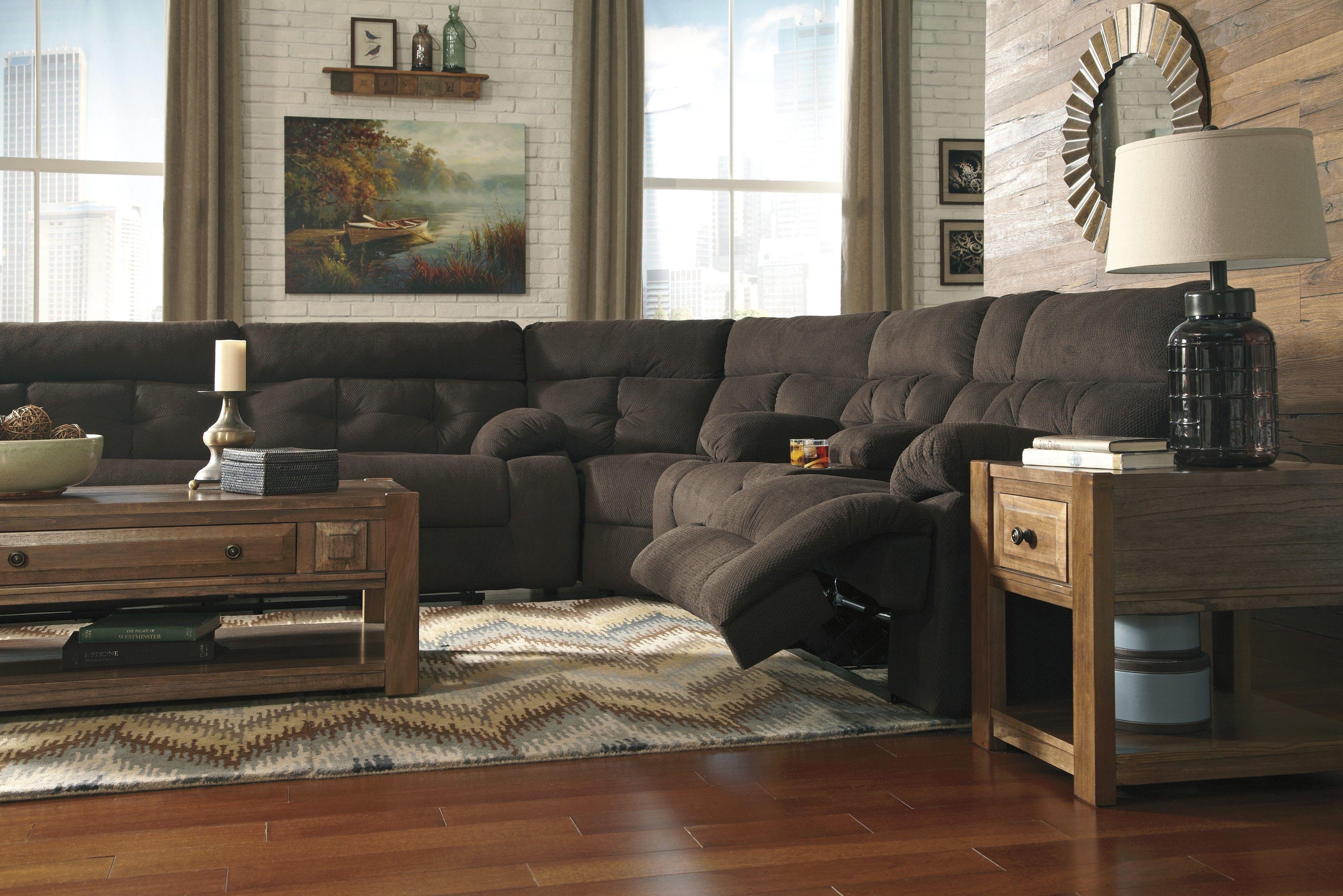 3 Piece Power Recliner Sectional   Chocolate   Sam Levitz Furniture