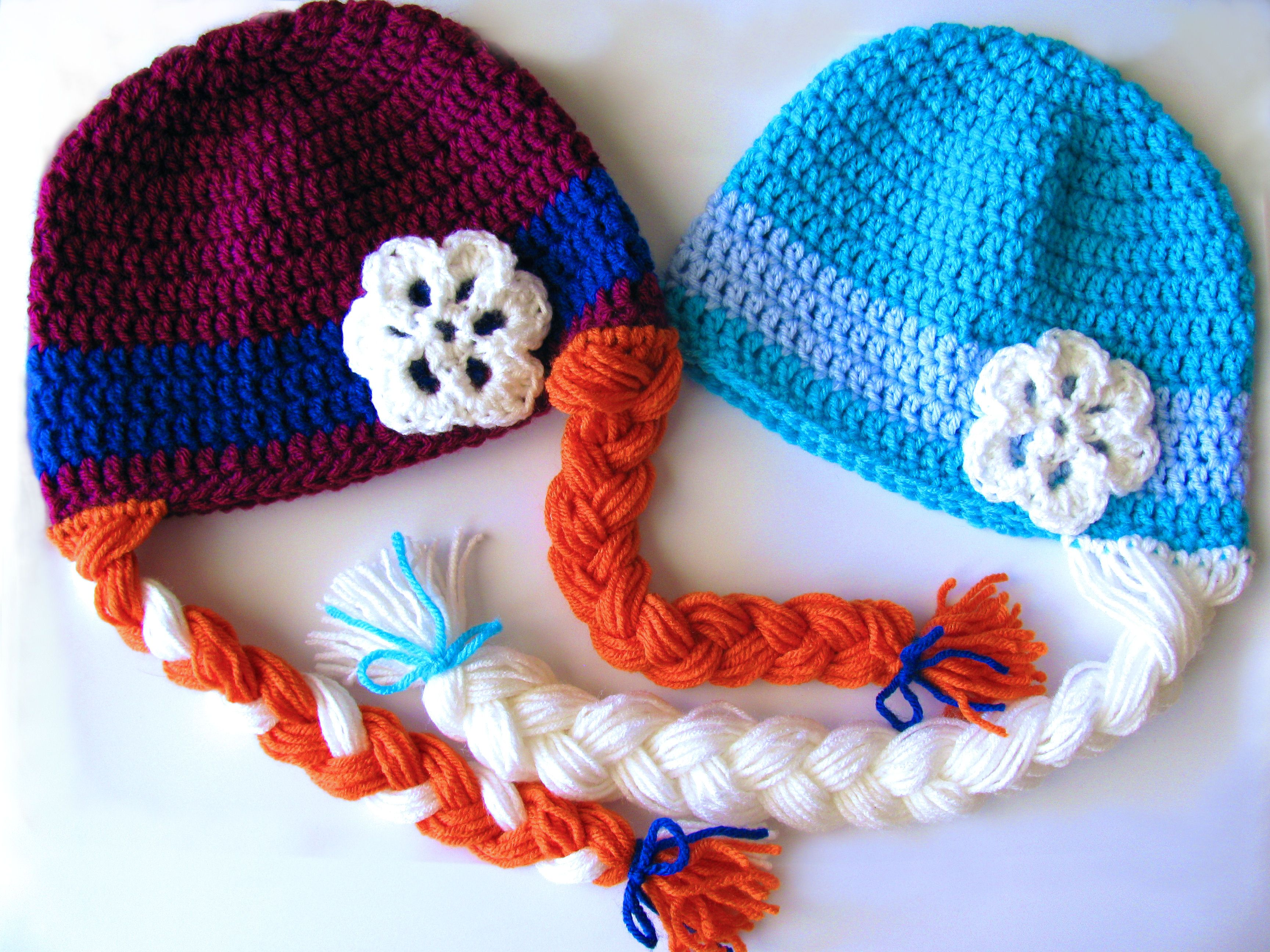 Made To Order Hand Crocheted Anna And Elsa Wig Hat Set Inspired By