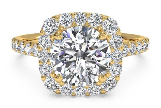 French-Set Halo Diamond Band Engagement Ring - in 18kt Yellow Gold (0.45 CTW) - Table view2 shadow
