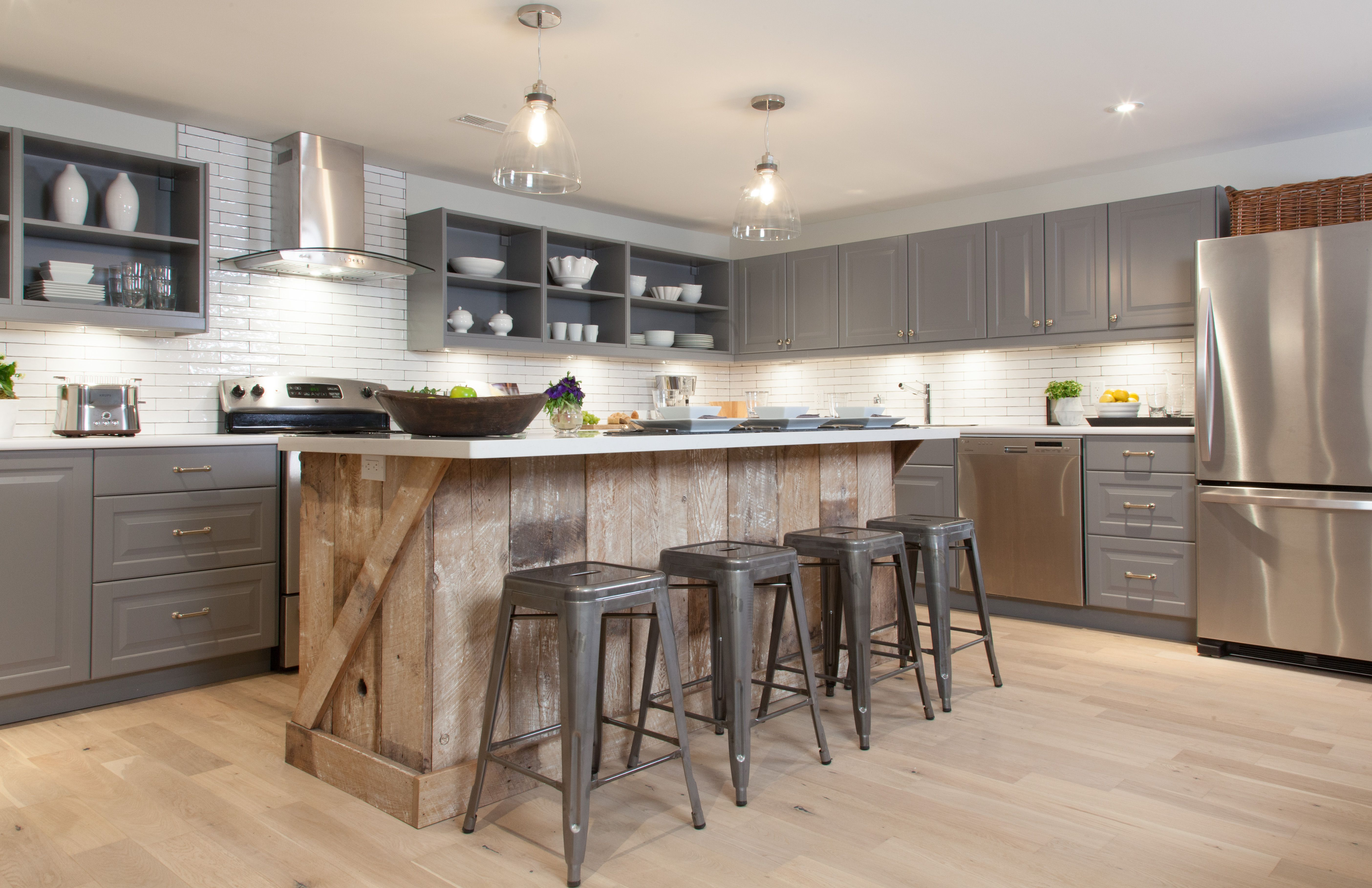 Modern Country kitchen with reclaimed wood island and ... on Modern Kitchen Counter Decor  id=43586