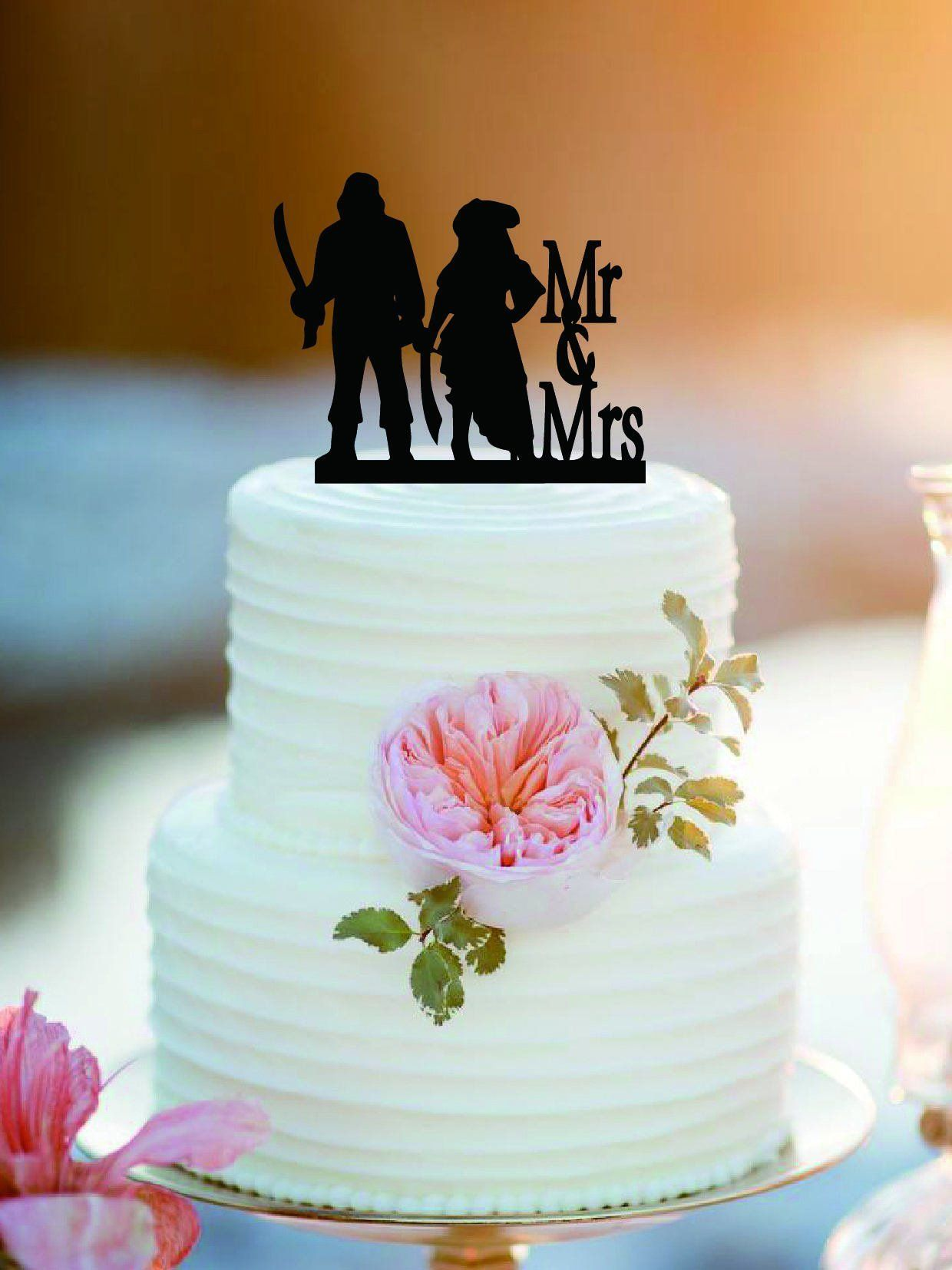Customized pirate mr and mrs wedding cake topper personlized bride