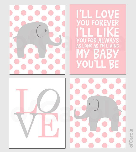 Pink And Gray Girls Baby Room: Baby Girl Nursery Elephant PERSONALIZED Wall Art Print