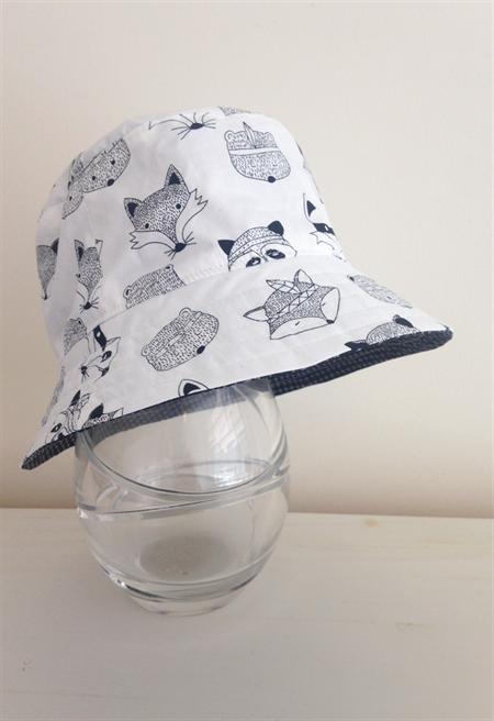 Boys summer hat in white woodland animals fabric Summer