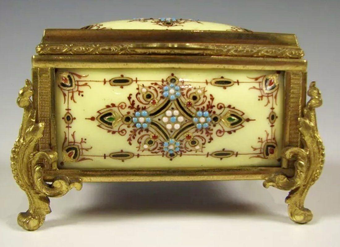 19TH C. JEWELLED FRENCH ENAMEL JEWLRY BOX.
