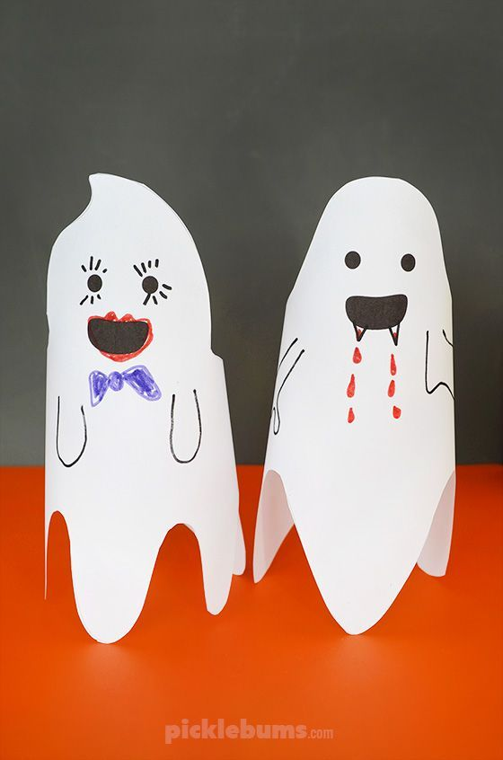 Fun Friendly Paper Ghosts  free printable is part of Halloween printables free, Easy crafts for kids, Free halloween, Halloween printables, Bored kids, Free printables - Make some fun, friendly, paper ghosts using our free printable template  Perfect for Halloween or a Friday the 13th party!