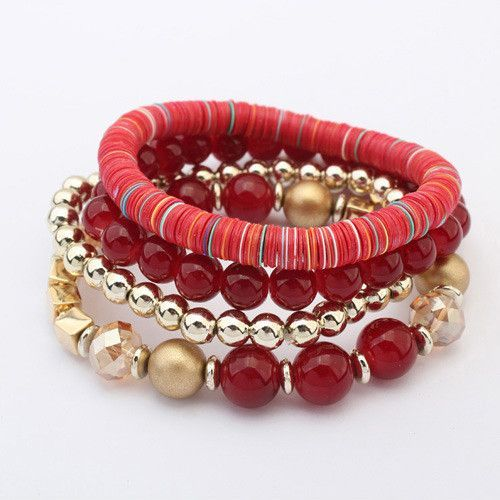 Red Beads Bracelet Set