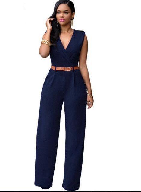 952c51c7e05 Zkess Jumpsuit Long Pants Women Rompers Sleeveless XXL V-neck 2017 Belt  Solid Sexy Night Club Elegant Slim Jumpsuits Overalls