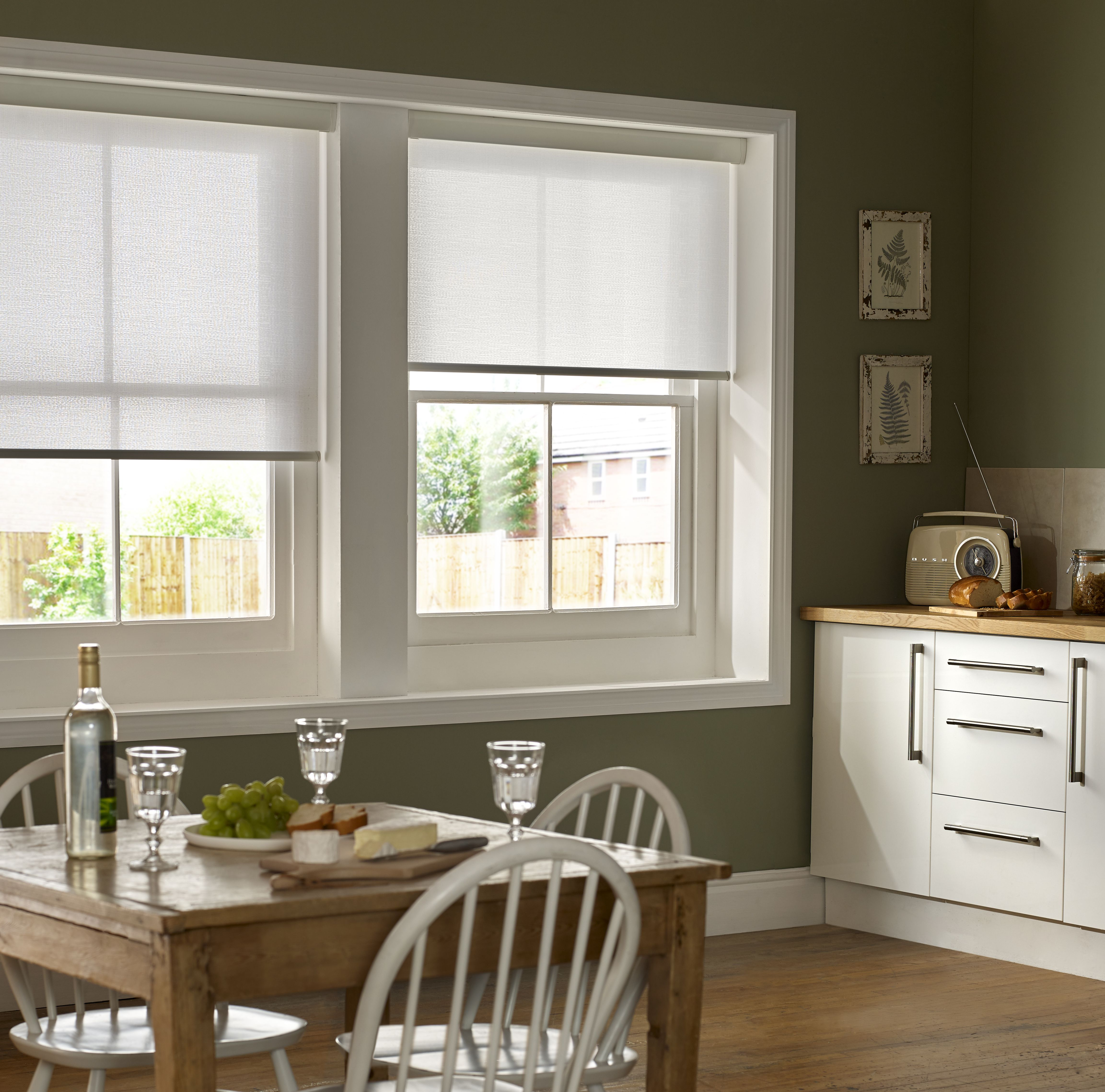 Kitchen Window Dressing Mariella Snowdrop White Kitchen Roller Blinds Bling Bling For