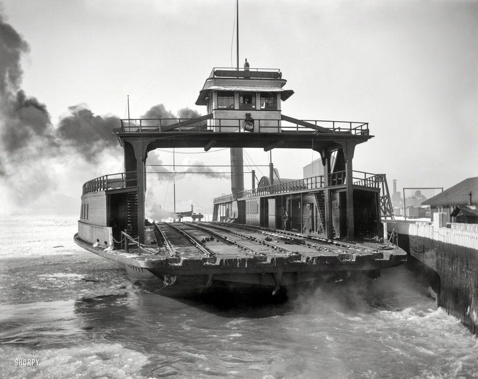 BOXCAR FERRY, Circa 1900. The rail car ferry transport on