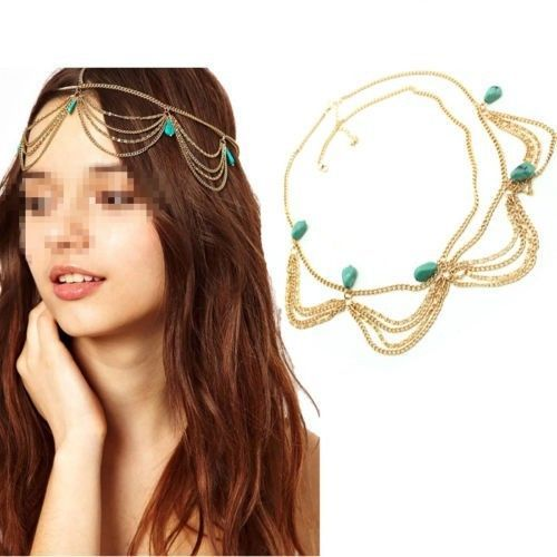 Hot Gold Draping Chain Turquoise Bead Crown