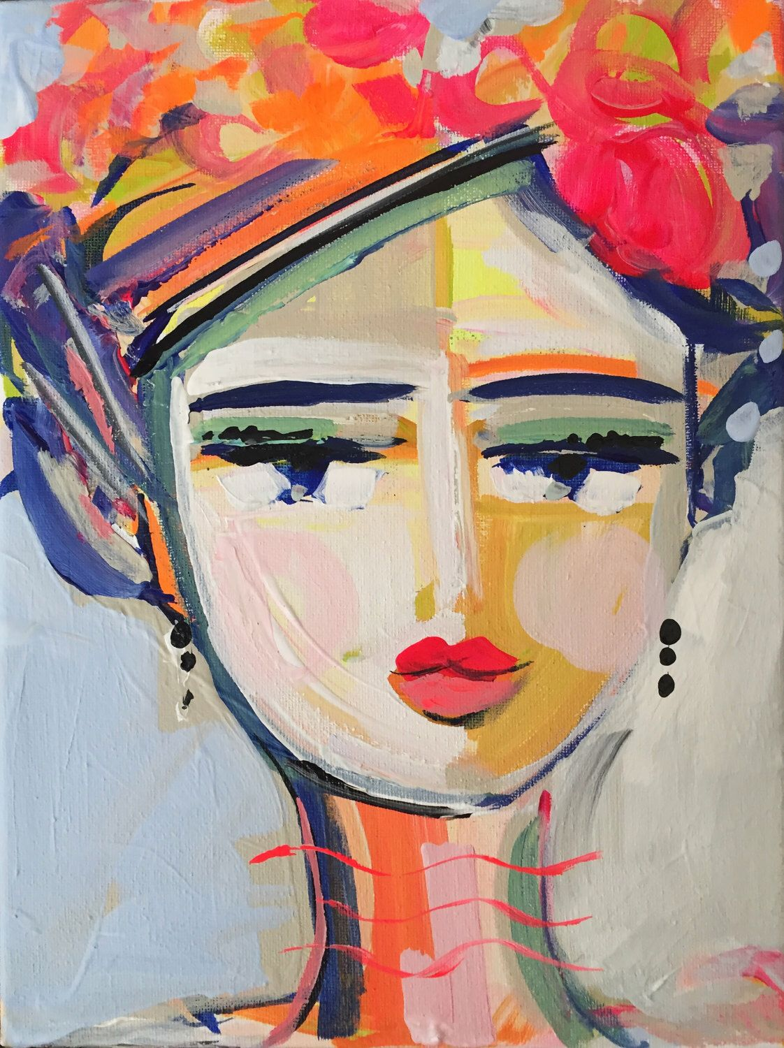Abstract Faces Woman Painting A