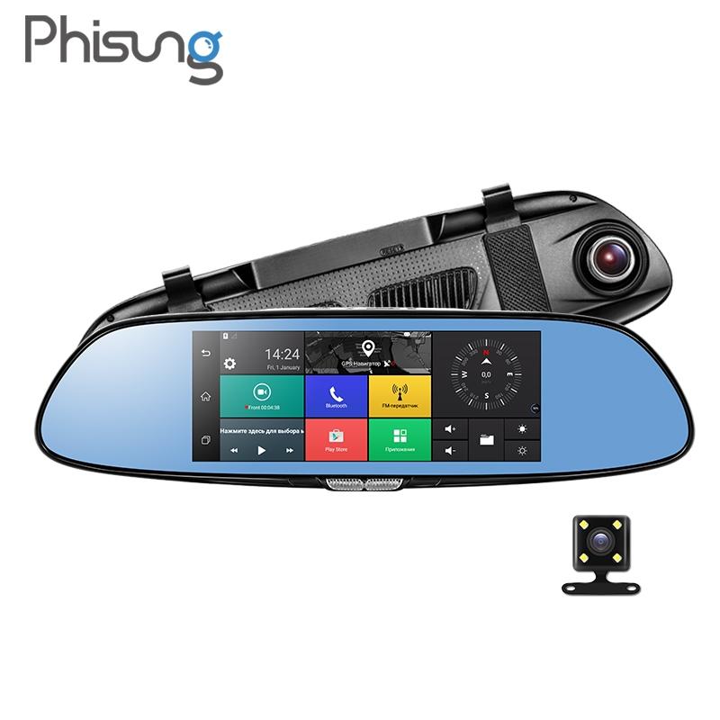 Junsun 6.86/'/' ADAS Android Dual Lens  Car DVR Dash Camera Rear view Mirror GPS