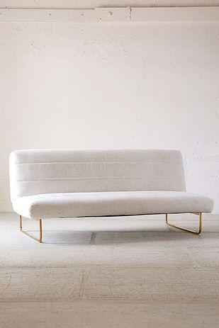 This White Sleeper Sofa With Gold Detailing That Is Elegant And Sophisticated Without Being Stiff Cheap Sofas Cheap Living Room Sets Sleeper Sofa