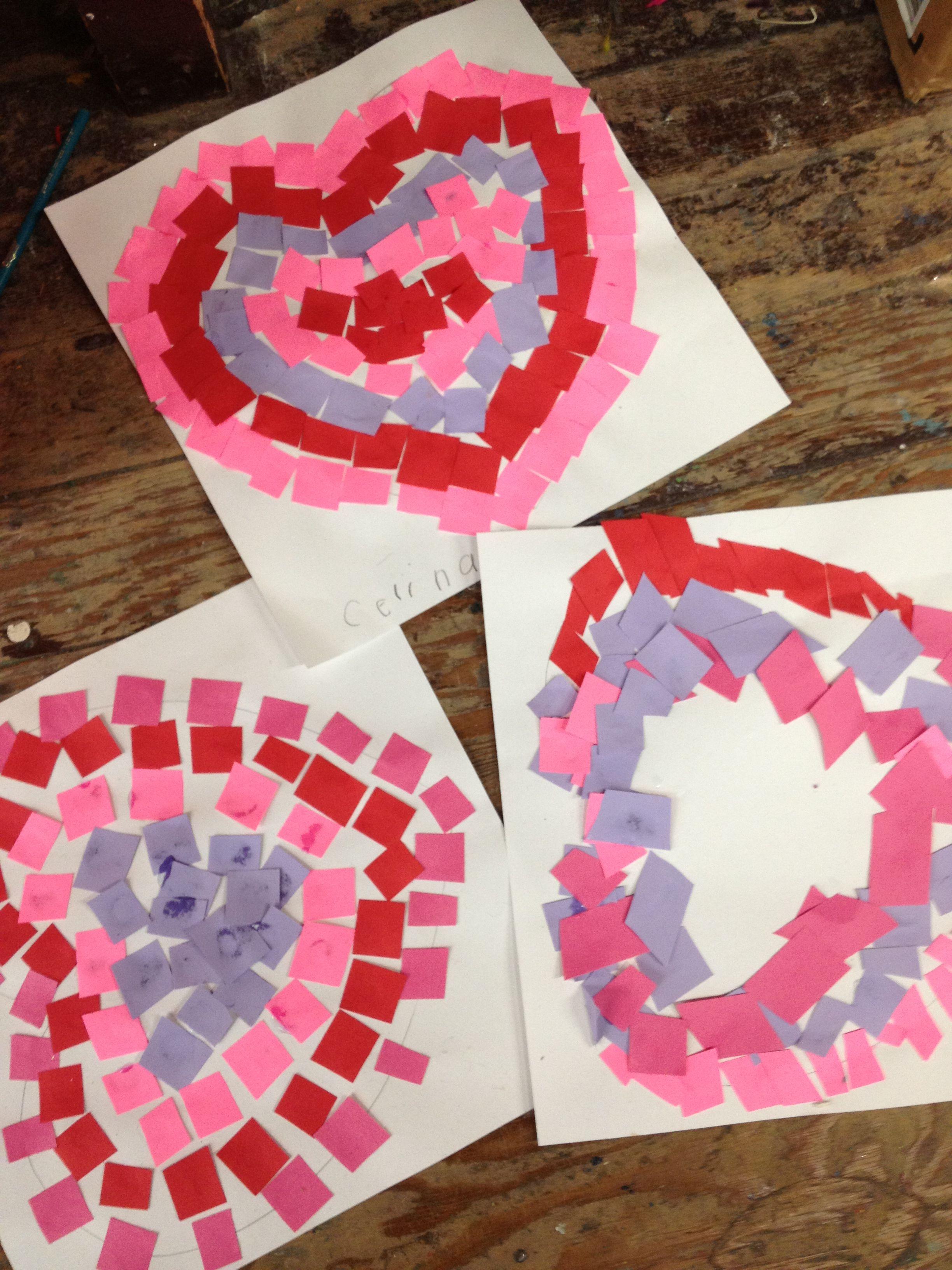 Mosaic Valentine Designs By Kindergarten