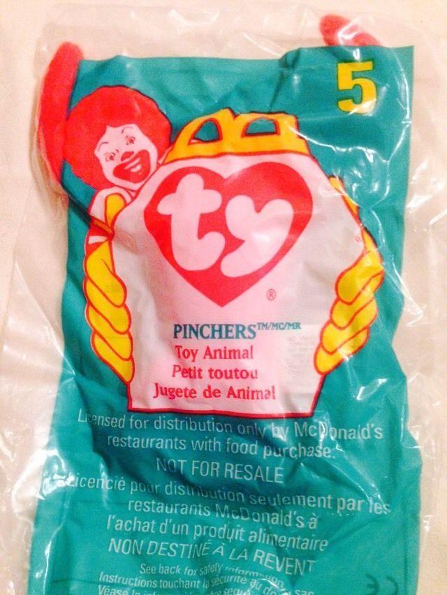 McDonald Ty Beanie Babies 1998 series  5 Pinchers the Lobster  e41095e5669
