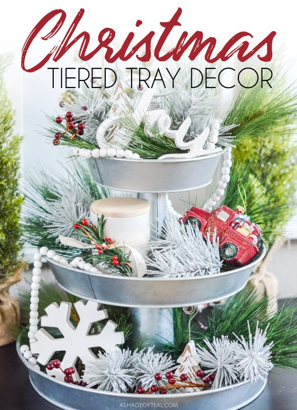 Decorate your Tiered Tray for Christmas. See how to add a