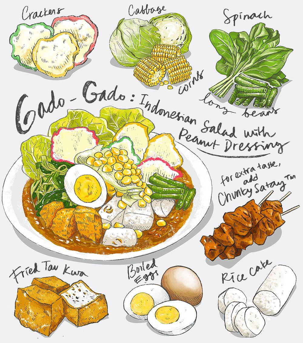 A Mural For Gado Grill An Indonesian Food Stop In Singapore Gado Gado Itself Is Originally From Indonesia Seni Makanan Ide Makanan Resep Masakan Asia