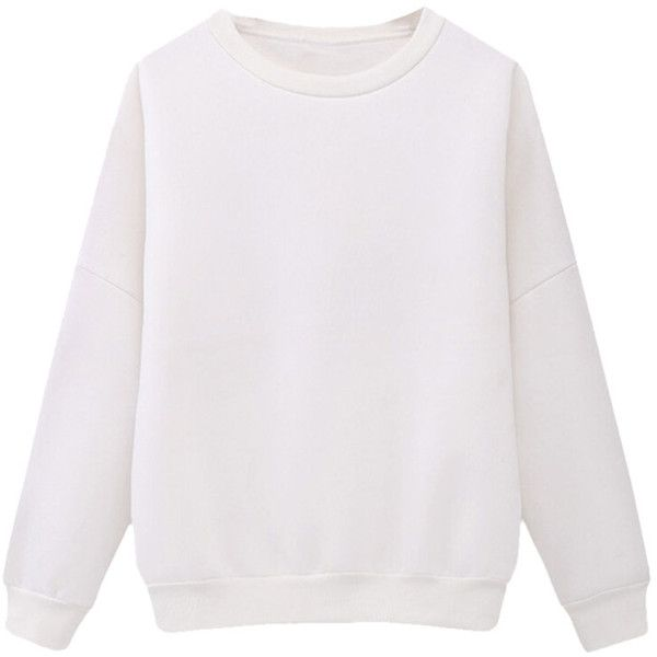 Womens Crewneck Fleece Long Sleeve Plain Sweatshirt White ($24) ❤ liked on Polyvore featuring tops, hoodies, sweatshirts, white, crew neck fleece sweatshirts, fleece sweatshirt, crew top, white crew neck sweatshirt and white top