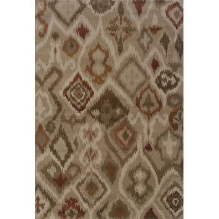 Sphinx Adrienne Area Rugs - 4173B Transitional Casual Beige Ikat Diamonds Abstract Lines Rug