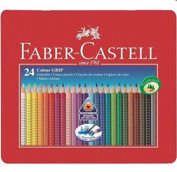 Faber Castell Coloured Pencil Colour Grip Tin 24 Faber Castell Faber Castell Triangle Pencils Colored Pencils