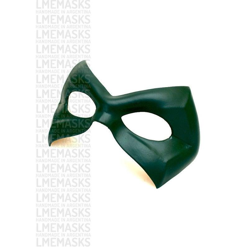 Green Arrow Leather Mask Dark Green Comic Oliver Queen Robin Etsy Leather Mask Green Arrow Mask