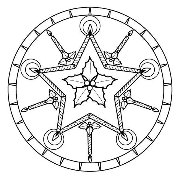 Mandala de Navidad dibujo para colorear e imprimir  Karcsony