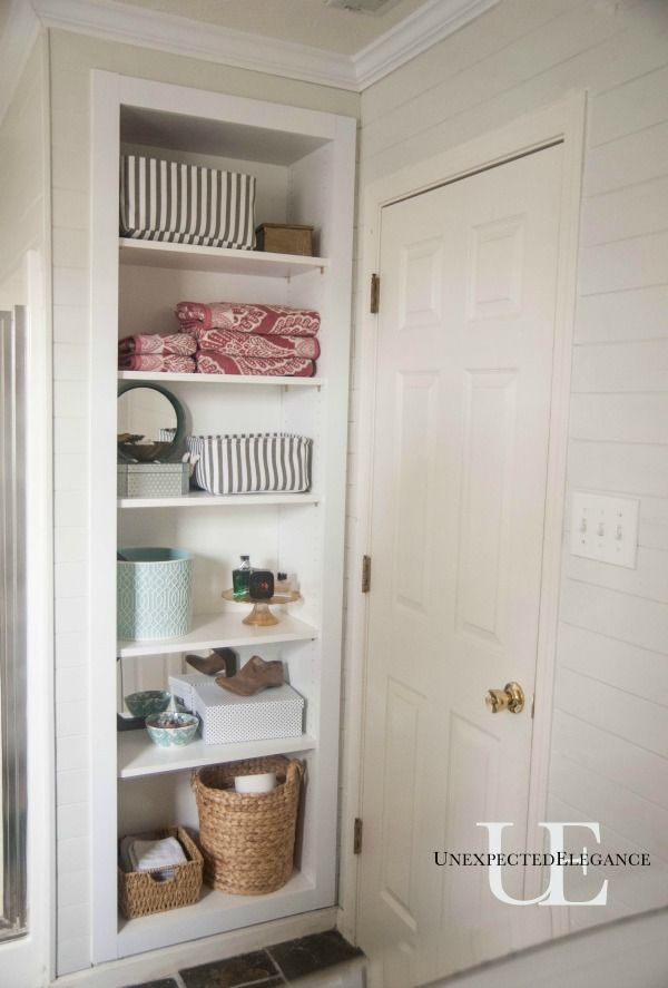 diy built in shelving for my bathroom | top pins on pinterest