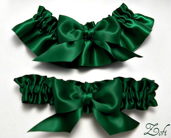 6a907c16c Garter set in emerald green satin with emerald green
