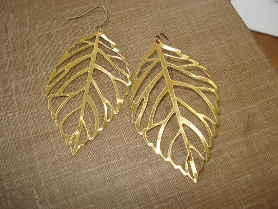 Gold Leaf Earrings, Jewelry on Antiqued Brass Ear Wire