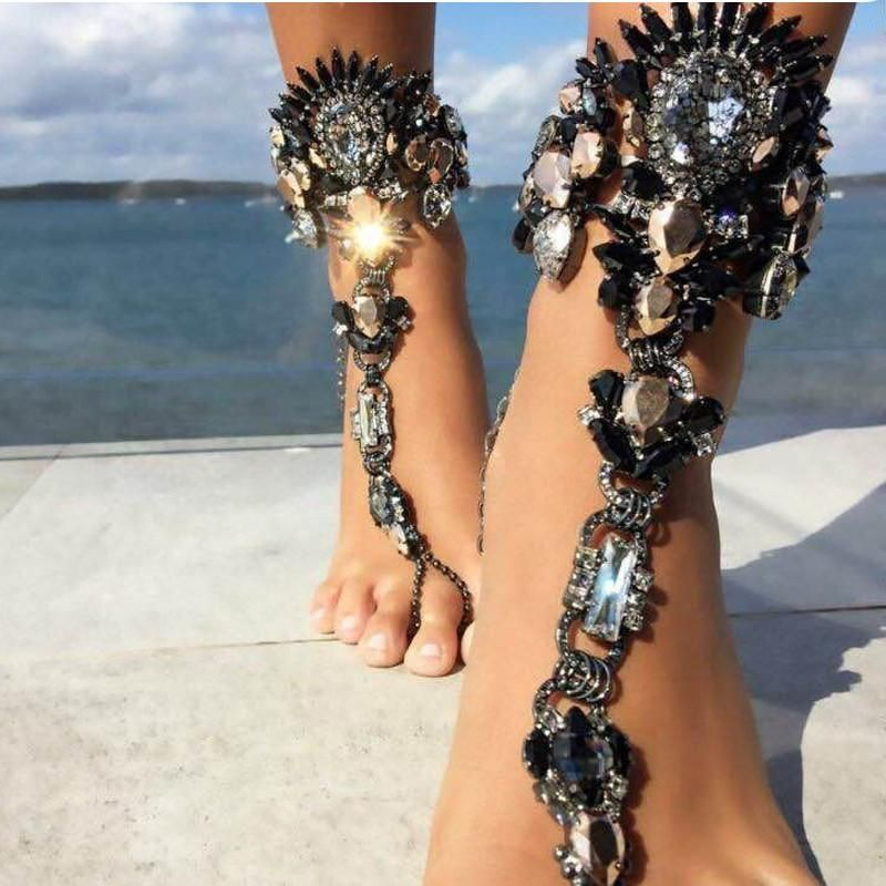 Crystal Barefoot Sandals Beach Chain Anklet Wedding Foot Anklet Women Jewelry IS