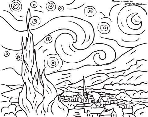 Noche Estrellada, De Vincent Van Gogh Dibujo para colorear