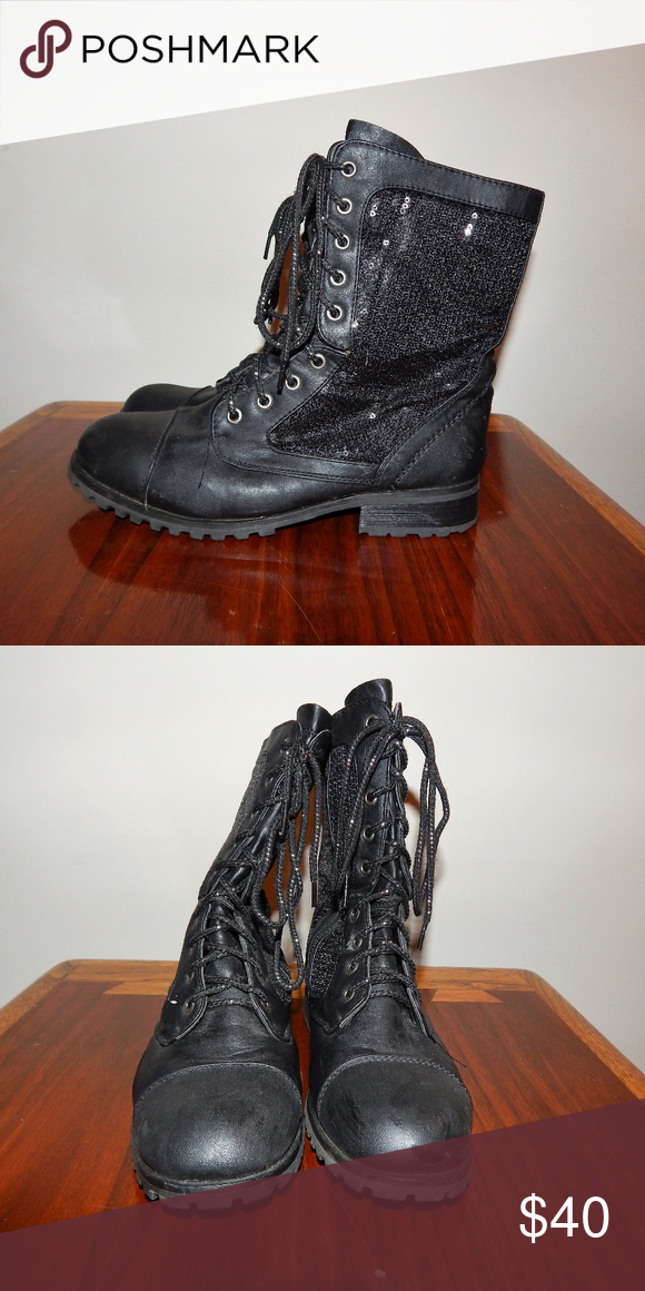 a4034ba18760 Gia-Mia Sequin Black Combat Boots Size 7 Adorable Sparkly Black Combat Boots!  Only worn a few times! Gia-Mia Shoes Combat & Moto Boots