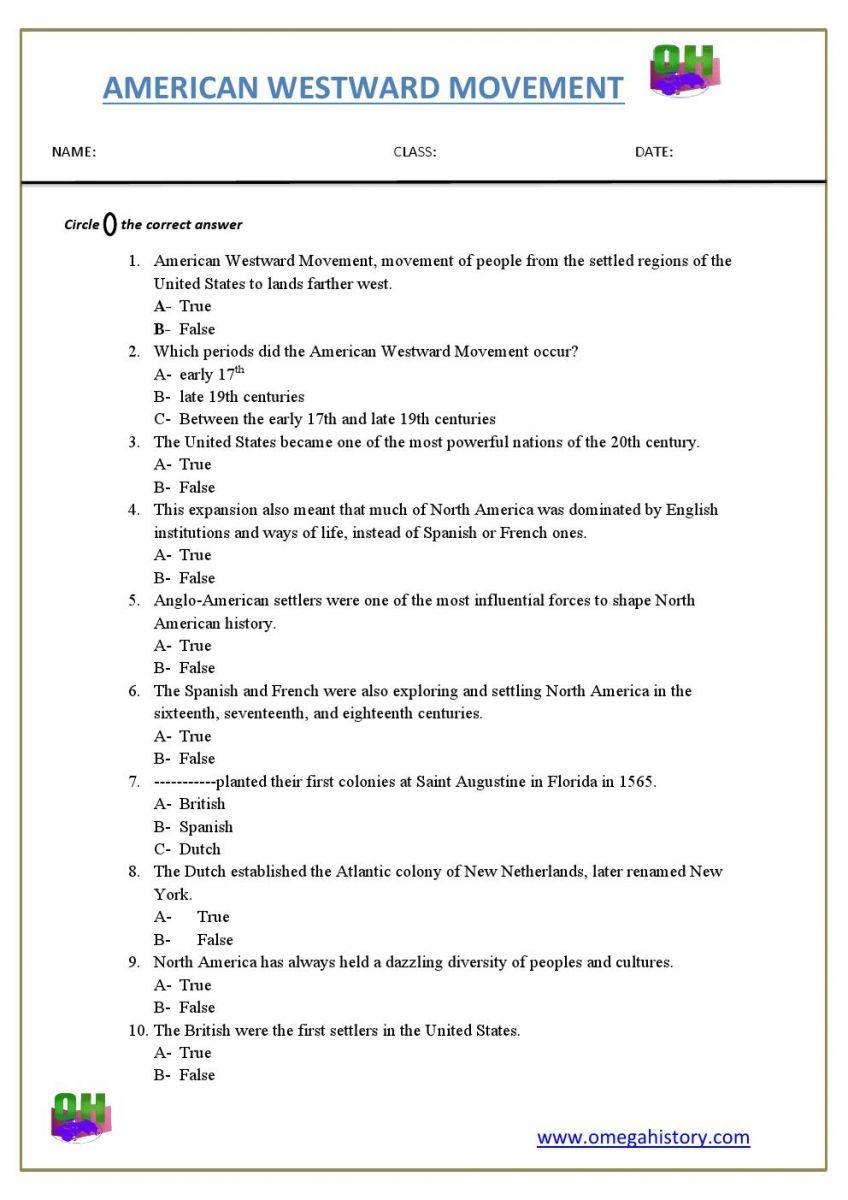Westward Expansion Of American Westward Movement Free Worksheet Pdf History Worksheets Westward Movement Free Printable Worksheets