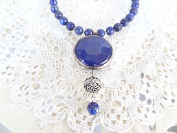lapis lazuli necklace lapis lazuli pendant gemstone jewelry navy blue necklace turkish