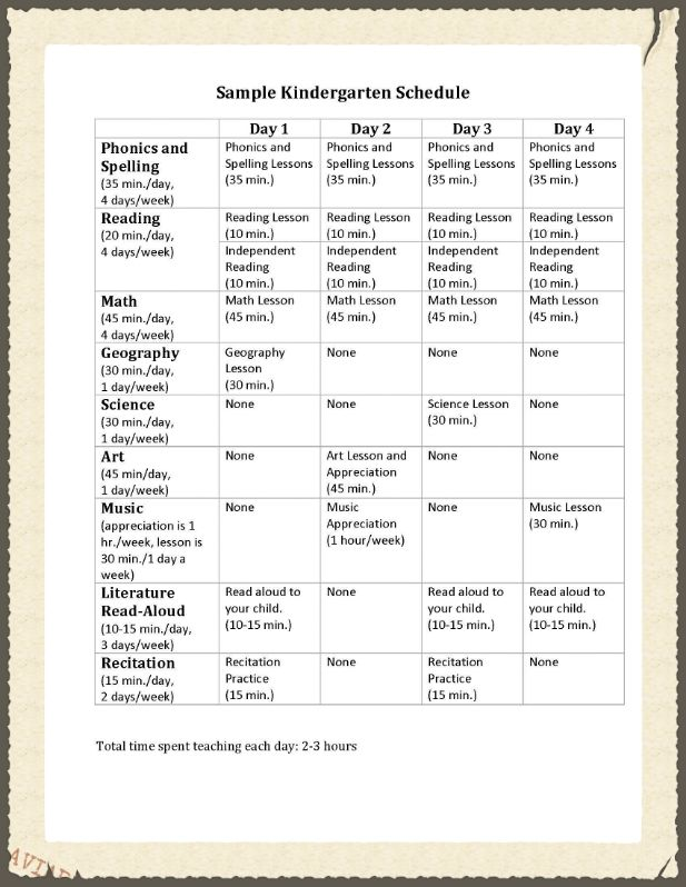 Sample Kindergarten ScheduleJpg Like This Schedule But Replace
