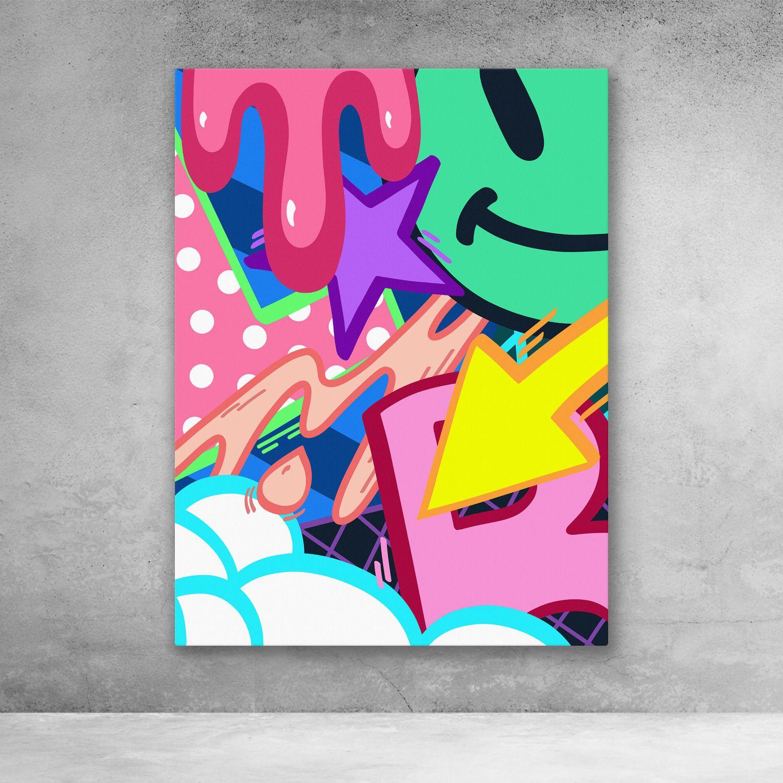 Graffiti Blast Street Art Cartoon Pop Art Canvas Wall Art In 2021 Pop Art Canvas Graffiti Canvas Art Pop Art Painting
