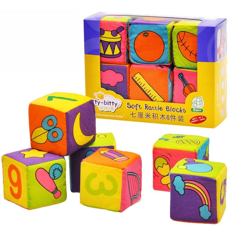 Set of 6 Pcs Rattle Bell Cloth Building Block Cube Baby Educational Toy Gift