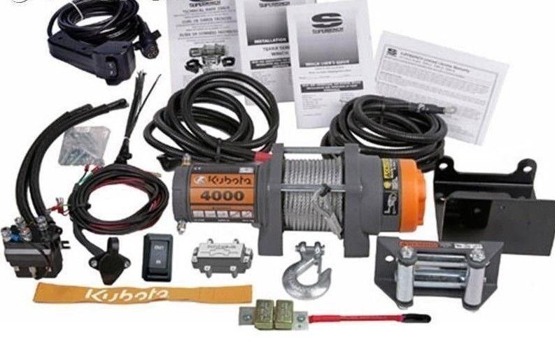 Kubota 4000 Lb Heavy Duty Winch System Kit Assembly 77700 V5244 1140221 12v Atv Parts Winches Winch