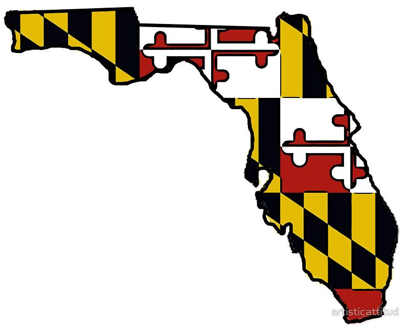 Florida outline maryland flag sticker by artisticattitud