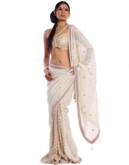 Miera Embellished, Woven Fashion Handloom Lace, Net, Georgette Sari